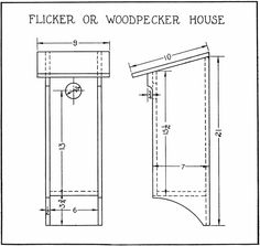Flicker/Woodpecker House (research for new work) Bird House Plans Free, Bird House Kits, Small House Plans, Woodworking Patterns, Woodworking Plans, Woodworking Videos, Goose House, Wild Birds Unlimited, Downy Woodpecker