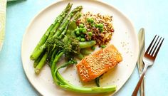 One Tray, Oven Baked Salmon with quinoa and rice