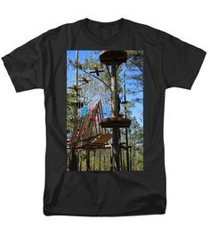 Tourist Attraction Men's T-Shirt (Regular Fit) featuring the photograph Rope Course Challenge by Cynthia Guinn