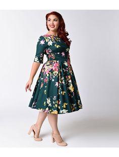 Plus Size Vintage Deep Green Seville Floral Half Sleeve Hepburn Swing Dress