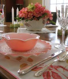 "Vintage Hazel Atlas ""Pink Crinoline"". One of my favorite vintage glass dinnerware patterns <3"