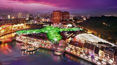 Clarke Quay di #Singapura merupakan tempat yang menarik untuk dikunjungi pada malam hari. Di sini Traveler akan menemui berbagai macam mall, bar, pub, lounge, restoran, cafe yang bisa anda pilih sesuai selera. Lokasi Clarke Quay juga terbilang mudah dijangkau, tidak jauh dari stasiun MRT #ClarkeQuay. Untuk yang hanya ingin bersantai bisa duduk-duduk di tepi sungai.   Photo: Clarke Quay Singapura (by all-worldwide website)