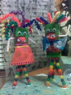 Leilani's recycling art project....Mr. & Mrs. Juice Box