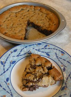 Chocolate Chip Cookie Cake - made it tonight, between the two of us there's not much left.  Pretty simple to make and delicious.  Mine baked in 19 minutes.