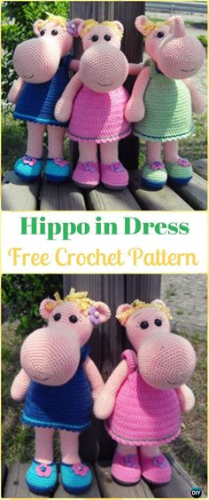 Crochet Amigurumi Hippo in Dress Free Pattern - Amigurumi Crochet Hippo Toy Softies Free Patterns