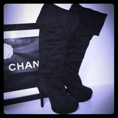 Kardashian Kollection Boots Size 6.5 🎉 Host Pick Only wore once.  Excellent condition.  Zips up in the back.  Can either wear folded (about knee length) or unfolded.  There are non-skid pads on the bottoms that I put on. Kardashian Kollection Shoes