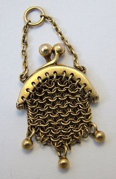 A Victorian c1900 9ct rose gold miniature chain mail purse charm that actually opens, STUNNING quality and detail, marked 9CT.
