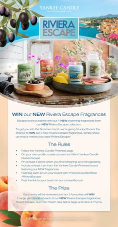 Be in with a chance to #WIN our four NEW fragrances from our #YankeeCandle Riviera Escape range. Checkout the pin to find out more about how you can enter our #Competition
