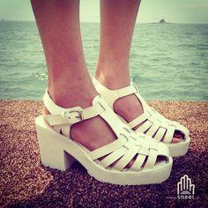 Sandalo Platform Key dream-shop grigio Pelle Aclaramiento De Bajo Costo o8e6iyzz