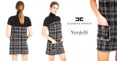 Mini abito Elisabetta Franchi in tessuto bouclé Collo alto Maniche corte 2  tasche con bordi sfrangiati d40a17b34d0