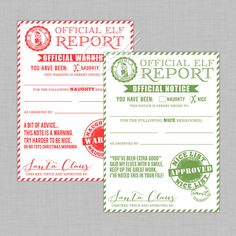 Christmas Elf Naughty and Nice Warning and Reward Notices
