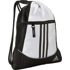 Adidas Alliance Ii Sackpack (21 CAD) ❤ liked on Polyvore featuring bags, backpacks, adidas, school & day hiking backpacks, white, striped backpack, mesh drawstring bag, draw string backpack, day pack backpack and white backpack
