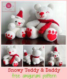 Snowy Teddy and Daddy amigurumi - Maz Kwok's Designs