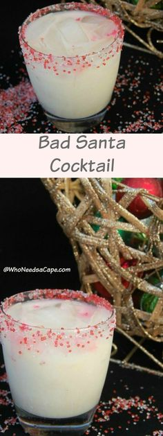 Bad Santa Cocktail is like drinking a Sugar Cookie (santa's favorite! This is the PERFECT Holiday Cocktail! Bad Santa Cocktail is like drinking a Sugar Cookie (santa's favorite! This is the PERFECT Holiday Cocktail! Christmas Drinks Alcohol, Party Drinks Alcohol, Drinks Alcohol Recipes, Holiday Cocktails, Yummy Drinks, Christmas Party Drinks, Holiday Alcoholic Drinks, Christmas Shots, Christmas Sangria