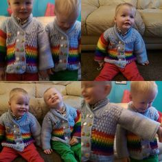 Getting the twins to model them was ..... Entertaining.  #caronsimplysoft #crochet #crochetersofinstagram #crochetaddict #crochetrainbow #rainbow #rainbowcardigan #crochetcardigan #color #colour #colourful #colorful #happy  #twins #identicaltwins #identicalboys #identicaltwinboys #twinboys #raisingboys #toddler #toddlers #toddlerboy #twintoddlers #crochetclothes #crochetkidsclothes #crochetchildrensclothes by the_loopy_home