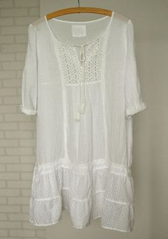 white cotton dress upcycled dress lace white by smArtville on Etsy, $46.24
