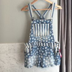 Overalls! New with Tags!!! So cute! Patriotic overalls. Never worn. Distressed. Xhilaration Jeans Overalls