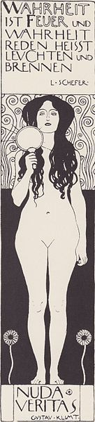 Klimt's Nudas Veritas lithograph illustration for Ver Sacrum