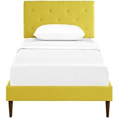 Terisa Sunny Fabric Twin Platform Bed w/ Round Tapered Legs ❤ liked on Polyvore featuring home, furniture and beds