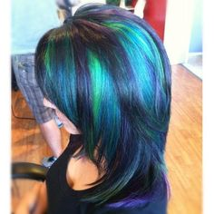 Peacock Inspired blue and green hair