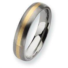 Titanium 14k Gold Inlay 5mm Brushed Comfort Fit Wedding Band (Size 6-13) Vishal Jewelry. $135.00. Gender: Male / Female. Fit: Comfort Fit. Availability: 1 to 2 Business Days. Metal: Titanium