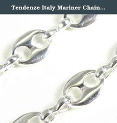 """Tendenze Italy Mariner Chain Necklace, Silver Plated, Width 5.5mm, Length 90cm/35.4"""", Directly From The Italian Factory. Mariner Chain Necklace, silver plated, high gloss finished, the original italian mariner chain, protected against tarnish finest jeweller quality, made in Italy."""