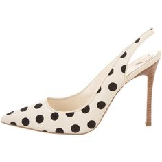 Pre-owned Hogan Polka Dot Slingback Pumps ($145) ❤ liked on Polyvore featuring shoes, pumps, pointed toe pumps, slingback pumps, sling back pumps, cream pumps and black pumps
