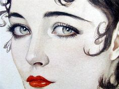 vintage illustration Alberto Vargas illustration;  detail