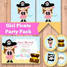 Download and print your free printable pirate party supplies (PDF) - invites, banners, cupcake toppers... Everything you need to throw an arrr party!