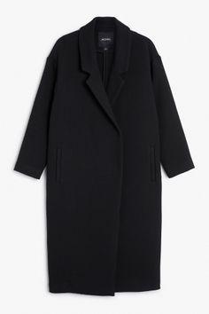 Monki Image 2 of Stitched coat  in Black