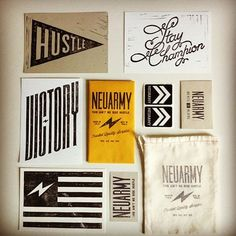 I like all the different typography in these design collateral. Again I like the cardboard paper. I like how they have used black and white against the cardboard paper.
