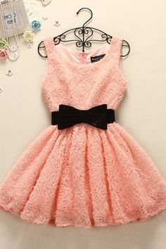 Pink dress with black bow