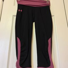 UNDER ARMOUR Pink and black Capri pants 87%nylon 13%elastane Under Armour Pants Track Pants & Joggers