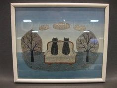 VTG Two Cats On Love Seat Print