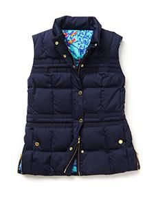 Lilly Pulitzer Kate Puffer Vest in True Navy