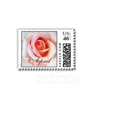 April Peach Pink Rose Wedding Postage from Zazzle.com