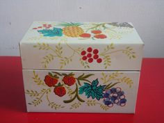 Vintage Fruit Motif Tin Recipe Box by PlayfullyVintage on Etsy