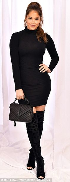 Absolutely perfect: Olivia Pierson stunned in all black; theWAGS star wore a skintight turtleneck mini dress with matching hued thigh-high boots and a YSL purse