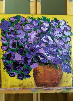 In my etsy link. This was created with a pallet knife and acrylic paints. Floral abstract, flower painting, flower art, abstract floral, whimsical flowers, pot of flowers, pallet knife painting, purple flowers. Knife Painting, Purple Flowers, Flower Art, Painted Furniture, Pallet, Whimsical, Abstract Art, Etsy Seller, Create