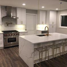56 Design Ideas for Modern and Minimalist Kitchen ~ My Dream Home Home Decor Kitchen, New Kitchen, Home Kitchens, Kitchen Dining, Kitchen Ideas, Marbel Kitchen, White Marble Kitchen, Tuscan Kitchens, All White Kitchen
