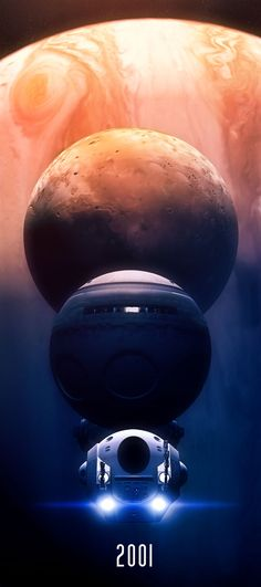 "Jupiter, Io, Discovery One & the EVA pod from 2001 by *GrahamTG on deviantART ""My God, it's full of stars!"""