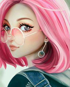 Digital drawing face manga girl with pink hair with glasses and . - Digital drawing face manga girl with pink hair with glasses and earrings - Manga Girl, Art Manga, Anime Art Girl, Anime Girls, Manga Drawing, Manga Anime, Anime Cat, Art Anime Fille, Art Mignon