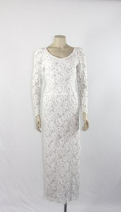 1960s Vintage Long Dress  White and Silver by VintageFrocksOfFancy