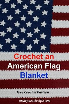 Crochet Gift Idea - Crochet an American flag blanket with this free crochet pattern. Made with soft and cuddly Bernat blanket yarn. Blanket Yarn, Blue Blanket, Blanket Crochet, Crochet Throws, Crochet Mittens, Free Crochet, Irish Crochet, Unique Crochet, Hand Crochet