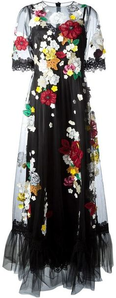 49390417 Dolce & Gabbana black and multicoloured silk-cotton blend embroidered  flower tulle gown