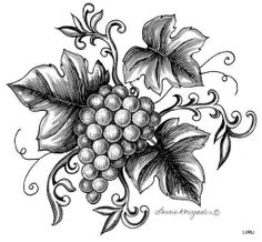 Grapes on the vine Wood Burning Crafts, Wood Burning Patterns, Grape Drawing, Pencil Drawings, Art Drawings, Doodle Pages, Glass Engraving, Bee Art, Leather Carving