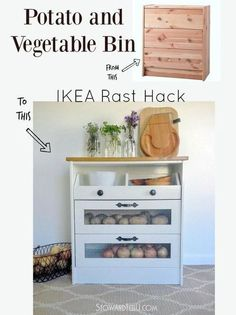 DIY potato and vegetable bin Ikea hack - perfect for orgazning your kitchen
