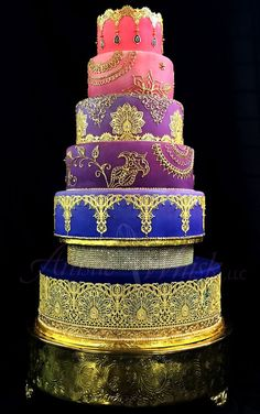 Purple, Pink and Gold Indian Wedding Cake   St. Petersburg Wedding Cake Bakery The Artistic Whisk