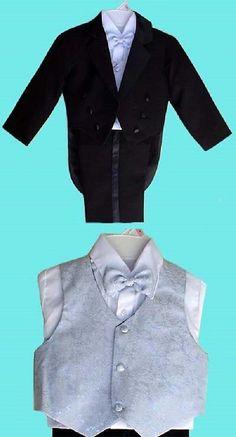 a02c4f03a1a Boys Formal Occasion 105520  Boys Black Tuxedo Silver Vest Wedding Ring Boy  Bearer 7 -  BUY IT NOW ONLY   28.99 on  eBay  formal  occasion  black   tuxedo ...