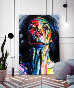 tableau-portrait-femme-peinture-pop-art-02 Tableau Pop Art, Paintings, Colorful Frames, How To Paint, Impressionism, Canvas, Paint, Painting Art, Painting